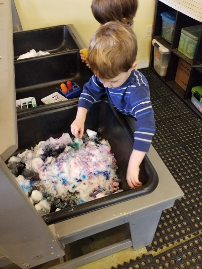 snow at the sensory table